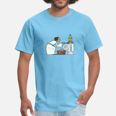 Chewbacca Funny Star Wars r2d2 and Leia comic - Men's T-Shirt