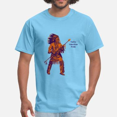 Geronimo Native American Indian Pride with Spear - Men's T-Shirt