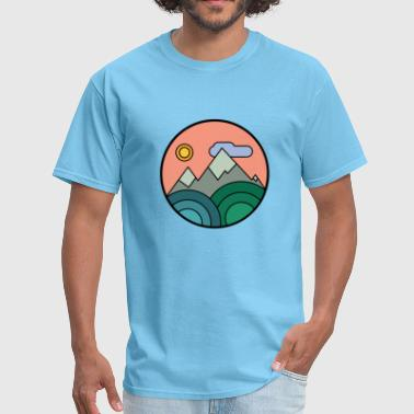 Cartoon Parody Mountains Colours - Men's T-Shirt