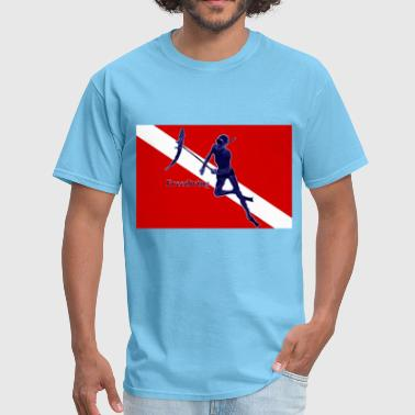 Underwater Spearfishing Freediver with Diving Flag - Men's T-Shirt