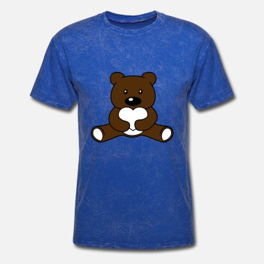 Comic Strip heart love bear cute cute sitting small cartoon ca - Men's T-Shirt