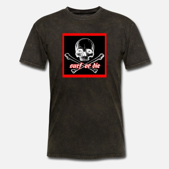 Skull T-Shirts - Surf or Die - Men's T-Shirt mineral black
