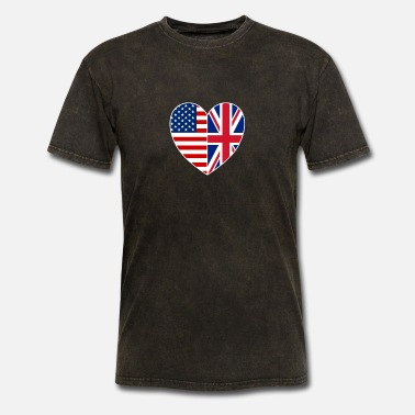 Usa Uk Flag Heart USA UK Flag Heart Tee British Patriotic Fourth Of - Men's T-Shirt