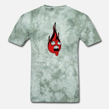 Hot Designs fire flames burning hot crazy face head eyes tongu - Men's T-Shirt