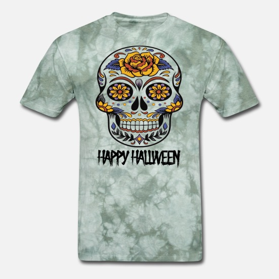 Flower T-Shirts - hallween flower skull - happy hallween - dead day - Men's T-Shirt military green tie dye