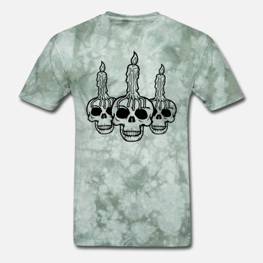 Fire Skull cool 3 skull skeleton skull head creepy horror hal - Men's T-Shirt