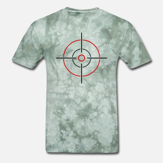 Cool T-Shirts - crosshair aim sight shoot aim sniper sharpshooter - Men's T-Shirt military green tie dye