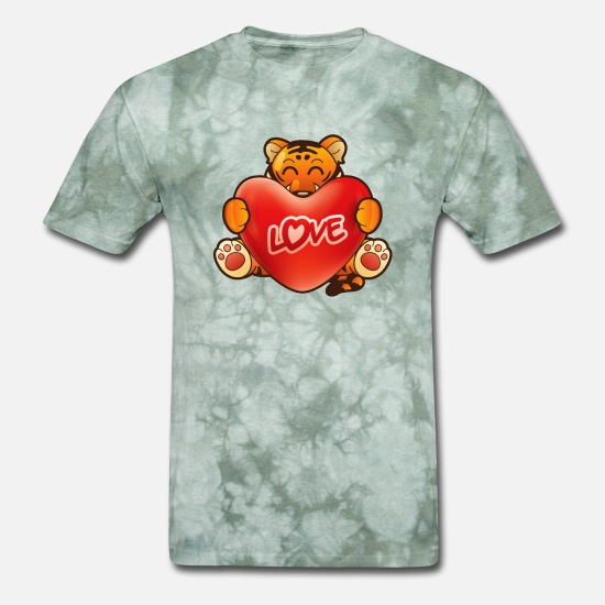 Heartily T-Shirts - Tiger Hugging A Heart - Men's T-Shirt military green tie dye