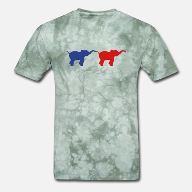 Thickness team 2 friends walking elephant silhouette shadow - Men's T-Shirt