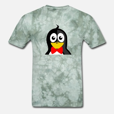 Cute Black Penguin cute looking penguin with red ribbon - Men's T-Shirt