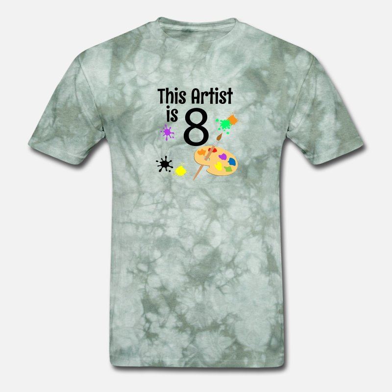 Mens T Shirt8 Year Old Art Painting Birthday Party 8th Shirt