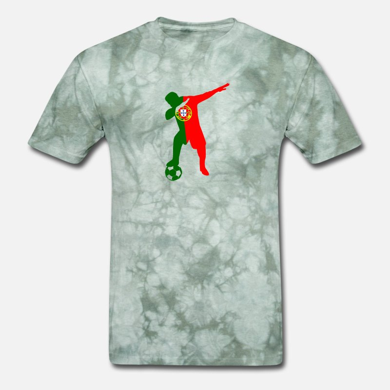 Portuguese T-Shirts - Portuguese soccer player dabbing - Men's T-Shirt military green tie dye