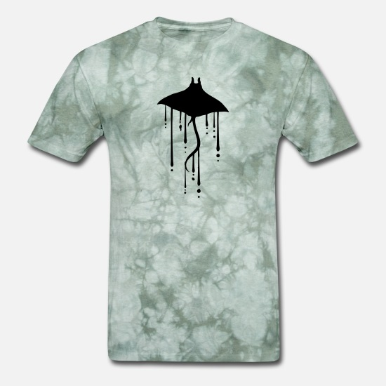 Art T-Shirts - water wet drop stingray swim diving silhouette out - Men's T-Shirt military green tie dye