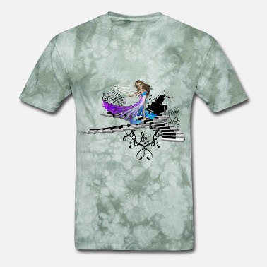 Fairy Cute fairy dancing on a piano - Men's T-Shirt