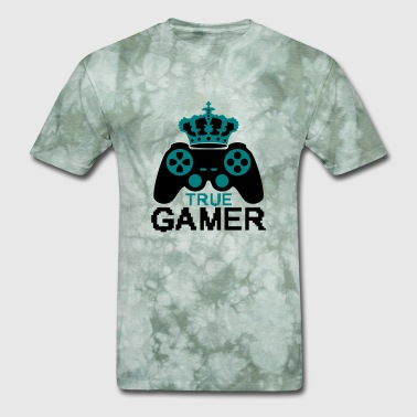 true gamer true gamble playing computer fun consol - Men's T-Shirt