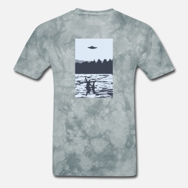 Ufo UFO over Bigfoot Riding on Nessie Lochness Monster - Men's T-Shirt