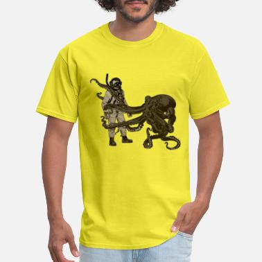 Vintage Diver with Diving Helmet and an Octopus - Men's T-Shirt