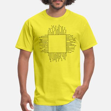 Electrician cube square pattern logo circuit wire data microch - Men's T-Shirt