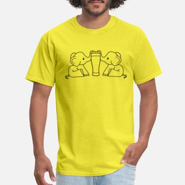 Sitting team couple 2 friends crew alcohol elephant beer s - Men's T-Shirt