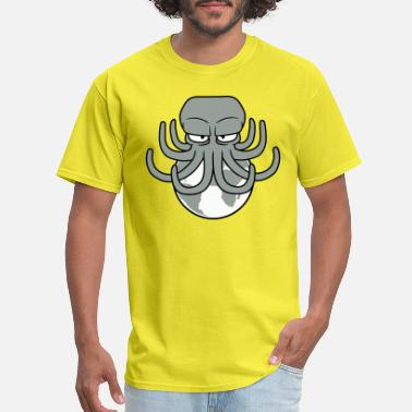Cartoon Planet earth attack alien huge big planet evil octopus oc - Men's T-Shirt