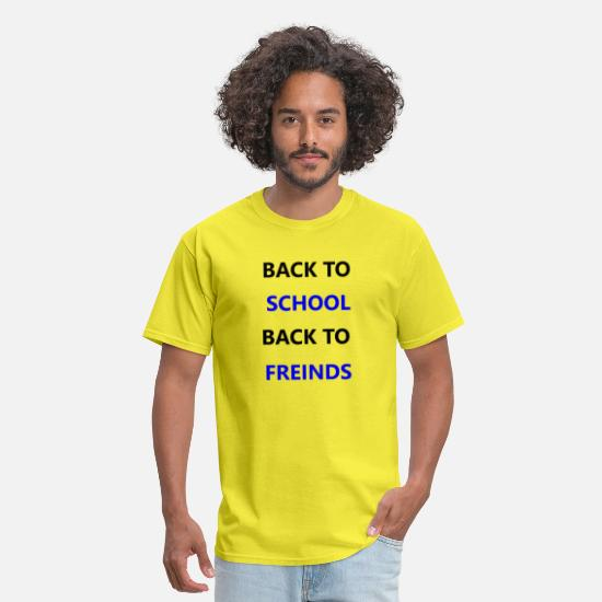 Fiend T-Shirts - BACK TO SCHOOL BACK TO FRIENDS - Men's T-Shirt yellow
