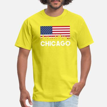Chicago American Flag Chicago IL American Flag Skyline - Men's T-Shirt