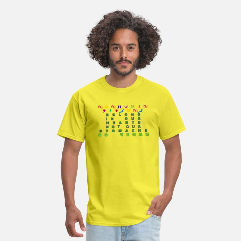 Love T-Shirts - NONHUMAN PERSONS BELONG IN OUR HEARTS NOT OUR STOM - Men's T-Shirt yellow