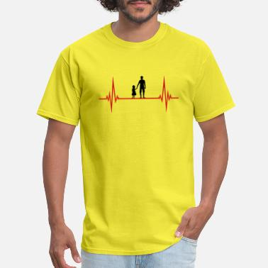 Frequency pulse heartbeat frequency dad father and daughter - Men's T-Shirt