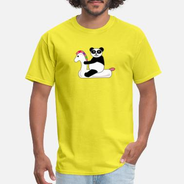 Panda Ride Panda Riding Unicorn - Men's T-Shirt