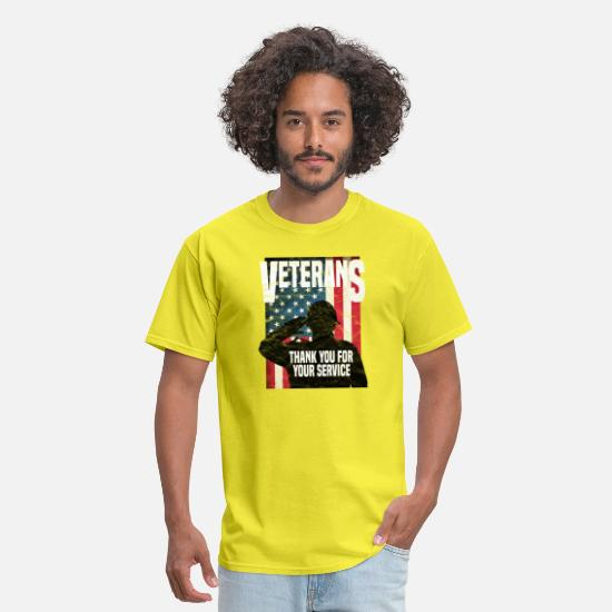 Soldiers T-Shirts - VETERAN - Thank You For Your Service - Men's T-Shirt yellow