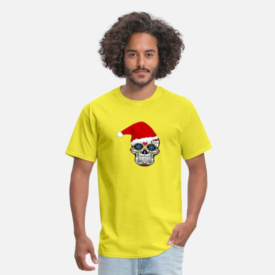 Occult T-Shirts - Santa Hat Sugar Skull T Shirt - Men's T-Shirt yellow