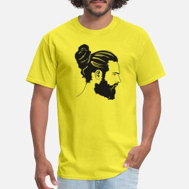 Hairstyle Handsome man with beard and bun - Men's T-Shirt