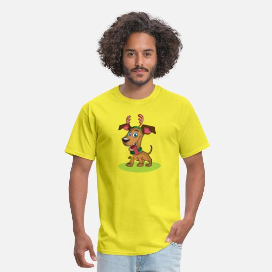 Gift Idea T-Shirts - Cute Brown Doggy Xmas gift idea gift present - Men's T-Shirt yellow