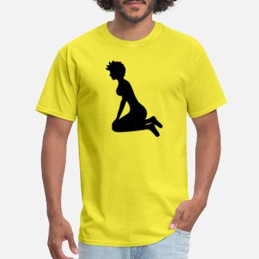 Butt Naked woman female sexy pretty hot sitting naked sex fuc - Men's T-Shirt