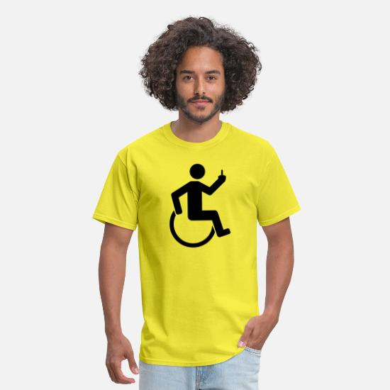 Fuck T-Shirts - wheelchair offend middlefinger fuck you off disabi - Men's T-Shirt yellow