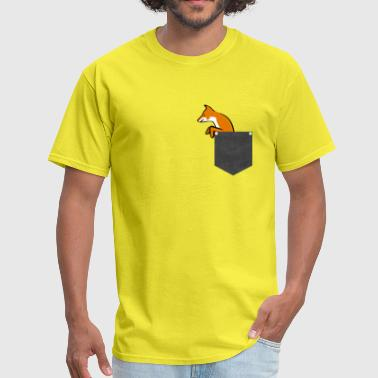 Pocket Fox T Shirt Funny Peeking Pet Wild Animal - Men's T-Shirt