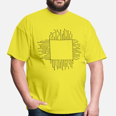 Electricians cube square pattern logo circuit wire data microch - Men's T-Shirt