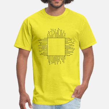 Circuit cube square pattern logo circuit wire data microch - Men's T-Shirt