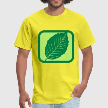 Story green cool button logo beech leaf tree plant shape - Men's T-Shirt