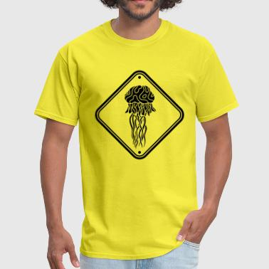 caution hazard caution note shield jellyfish - Men's T-Shirt