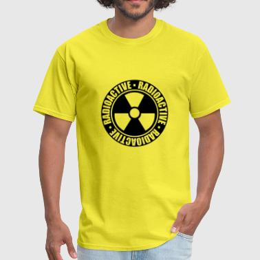 black stamp danger caution caution caution nuclear - Men's T-Shirt