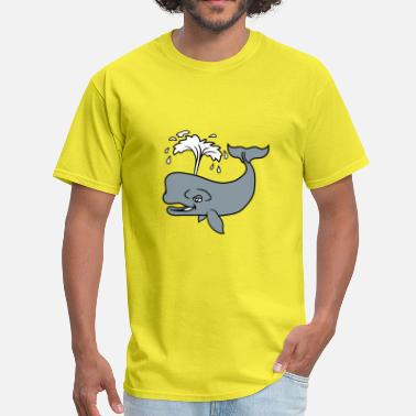 Walk On Water water splash fountain gray whale blue whale pot wh - Men's T-Shirt
