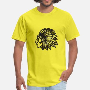 Warrior Mascot Cherokee Indian Mascot Feather Hairdresser Chief - Men's T-Shirt