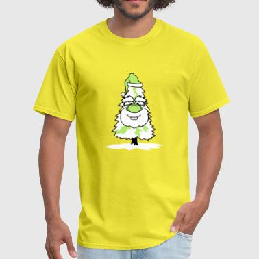 face funny white green christmas tree christmas ni - Men's T-Shirt