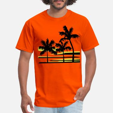 Caribbean Palm Trees Surfer Caribbean Hawaii - Men's T-Shirt