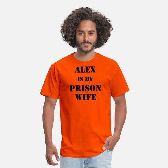 Lesbian T-Shirts - Alex Prison Wife - Men's T-Shirt orange