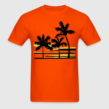 Palm Trees Surfer Caribbean Hawaii - Men's T-Shirt