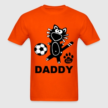 Daddy Soccer Cat Family Dad Fun Catpaw Design - Men's T-Shirt