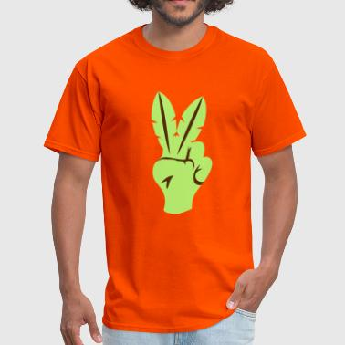 peace sign fingers palm leaves - Men's T-Shirt