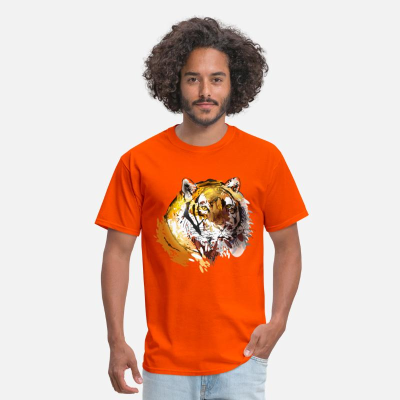 Animal T-Shirts - colorfuli llustration head tiger - Men's T-Shirt orange